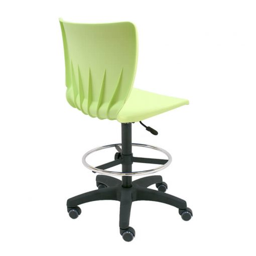 Taburete-giratorio-mono-polipropileno-verde-base-negra-ruedas-goma-parquet-trasera